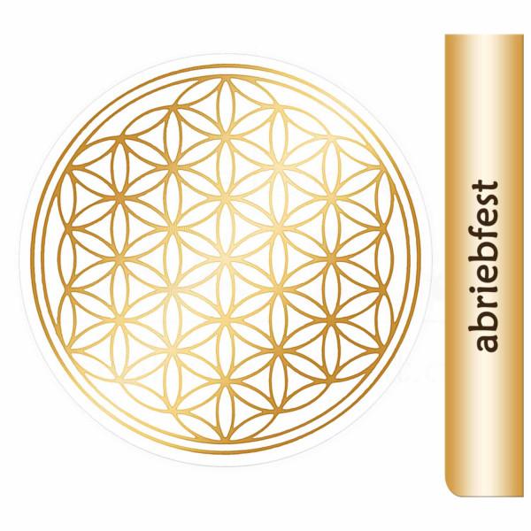 Blume des Lebens Aufkleber - Druck mit glänzendem Gold auf Transparentfolie - abriebfest | Farbe gold | in verschiedenen Größen | designed by atalantes spirit®