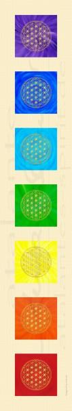Blume des Lebens Stoffbanner | Textil-Poster | 145 x 25 cm | 7 Chakrenfarben | designed by atalantes spirit®