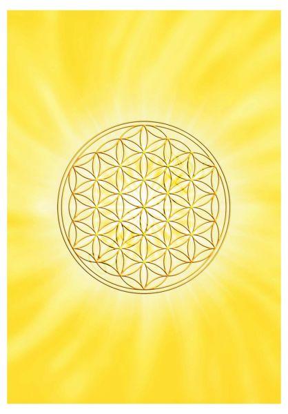 Postkarte | Blume des Lebens Solarplexus - mit glänzendem UV-Lack