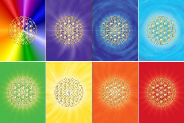Postkarten   Blume des Lebens 7 + 1 im SET - mit glänzendem UV-Lack