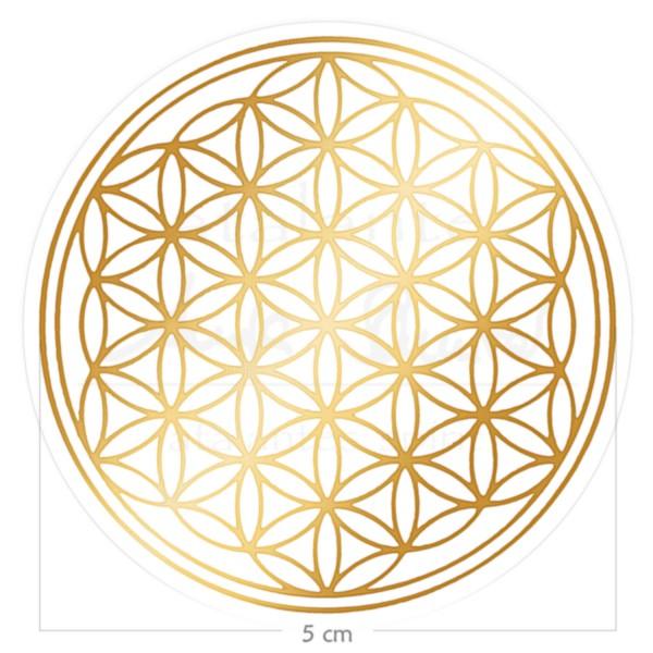 Blume des Lebens Aufkleber - Druck auf Transparentfolie | Farbe gold | 5 cm | designed by atalantes spirit®