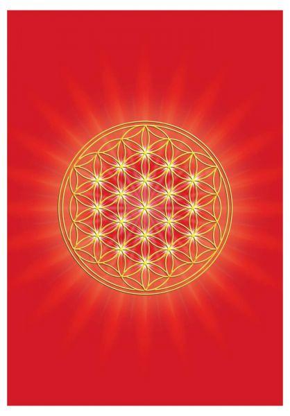 Postkarte | Blume des Lebens Wurzelchakra - mit glänzendem UV-Lack