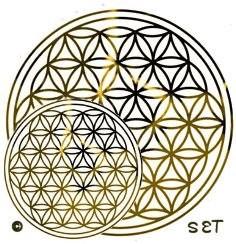 Blume des Lebens Aufkleber SET S: 3 x 3 cm & 2 x 5 cm | Druck mit Spiegelgold auf Transparentfolie | Farbe silber | designed by atalantes spirit®