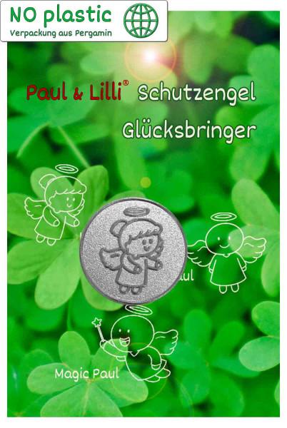 Schutzengel Lovely Lilli Glücksmünze | Farbe silber | Vorderseite auf Kärtchen | EnerChrom® ist eine Marke von atalantes spirit®