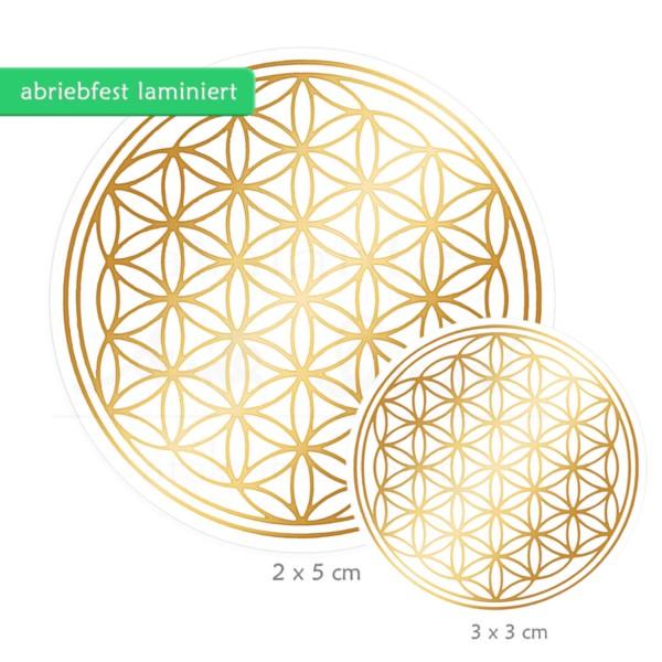 Blume des Lebens Aufkleber SET S: 3 x 3 cm & 2 x 5 cm | Glänzender Golddruck auf Transparentfolie | zusätzlich abriebfest laminiert | Farbe gold | designed by atalantes spirit®