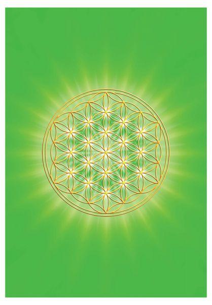 Postkarte | Blume des Lebens Herzchakra - mit glänzendem UV-Lack