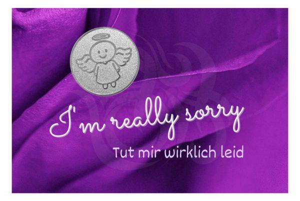Engelige Grüße - Tut mir leid - Sorry - Schutzengel Smiling Paul silber - Engelkärtchen violett VS - by atalantes spirit