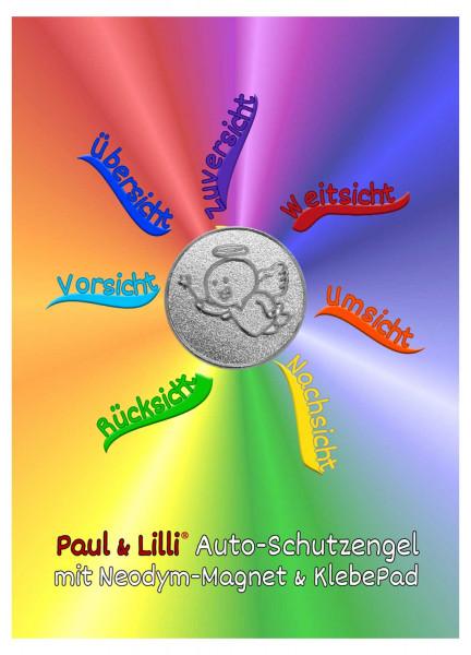 Schutzengel Magic Paul Auto-Magnet als Glücksbringer auf Flyer | Farbe silber | designed by atalantes spirit®