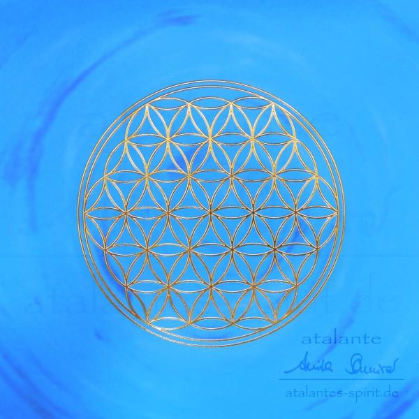 Blume des Lebens Postkarten mit goldener Reliefprägung | Kehlchakra hellblau | designed by atalantes spirit®