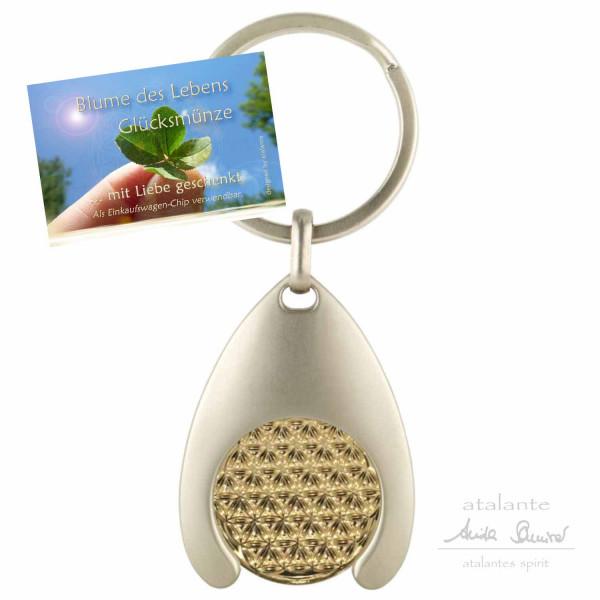 Blume des Lebens Schlüsselanhänger mit Glücksmünze | Farbe BiColor | Vorderseite | designed by atalantes spirit®