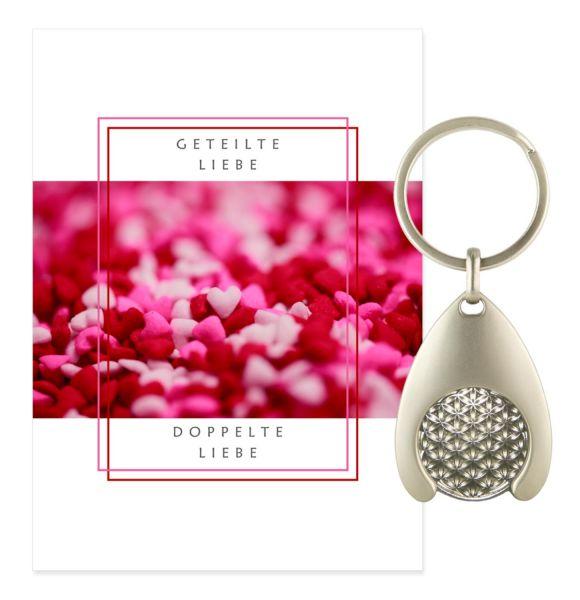 Blume des Lebens Schlüsselanhänger LIEBE - Silber Double