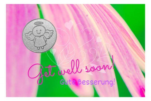 Engelige Grüße - Gute Besserung - Schutzengel Smiling Paul silber - Engelkärtchen rosa VS - by atalantes spirit