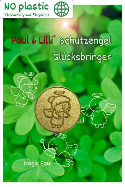 Schutzengel Lovely Lilli Glücksmünze | Farbe gold | Vorderseite auf Kärtchen | EnerChrom® ist eine Marke von atalantes spirit®