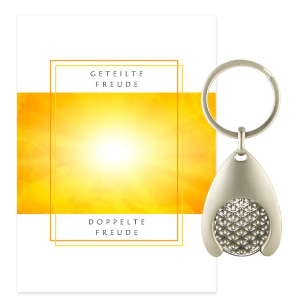 Blume des Lebens Schlüsselanhänger FREUDE - Silber Double
