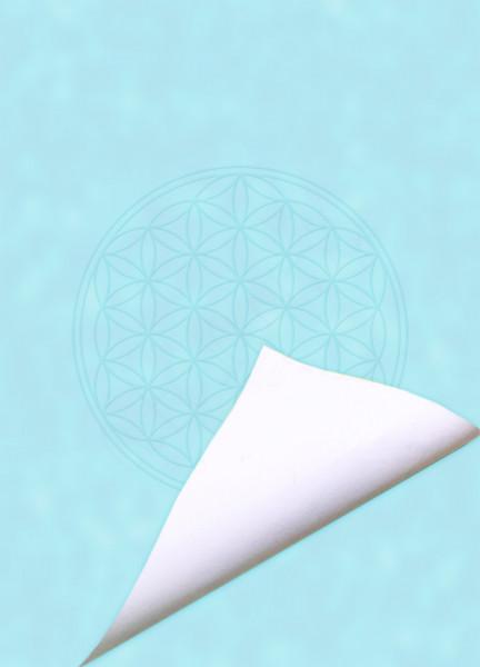 Blume des Lebens Notizblock Blue Focus | DIN A6 | Vorderseite blau | Rueckseite weiß | designed by atalantes spirit®