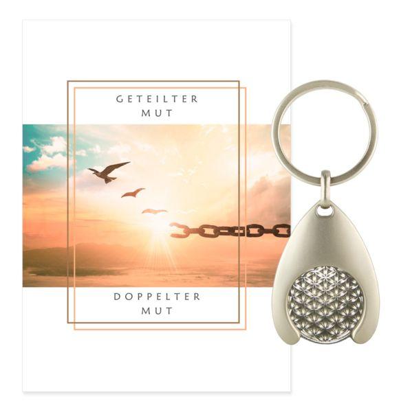 Blume des Lebens Schlüsselanhänger MUT - Silber Double