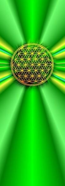 Blume des Lebens Lesezeichen | Motiv: grün-gelbe Strahlen | designed by atalantes spirit®