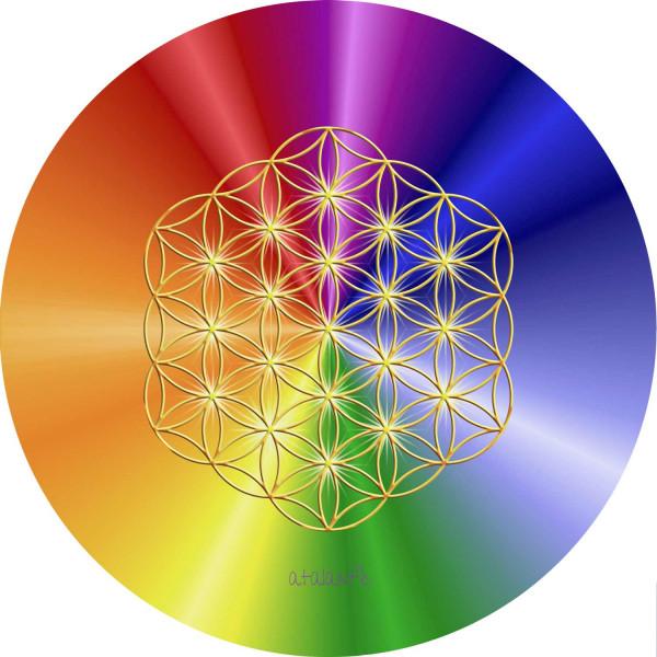 Blume des Lebens Mauspad | Motiv Rainbow ohne Außenkreise | alle Chakren | designed by atalantes spirit®