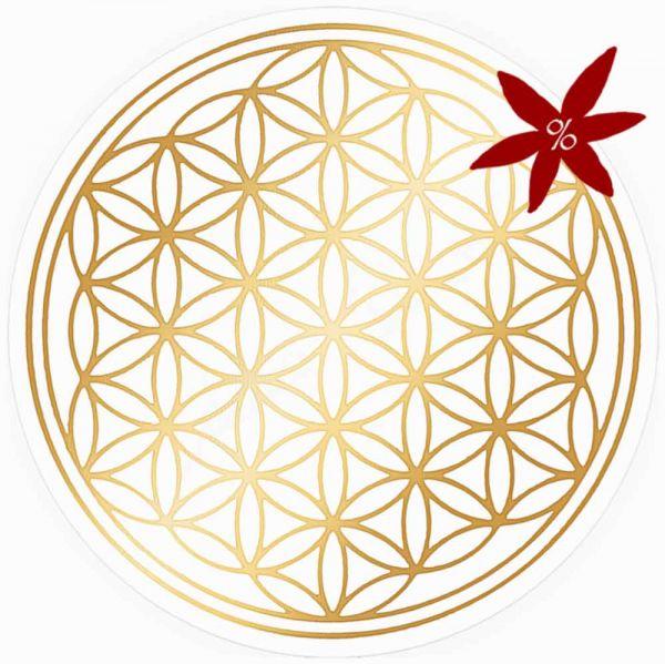 Aufkleber GOLD 3 cm SET = 10 Stück | Blume des Lebens - II. Wahl | B-Ware