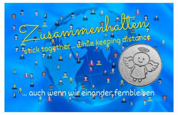 Engelige Grüße - Zusammenhalten - Schutzengel Smiling Paul silber - Engelkärtchen blau VS - by atalantes spirit