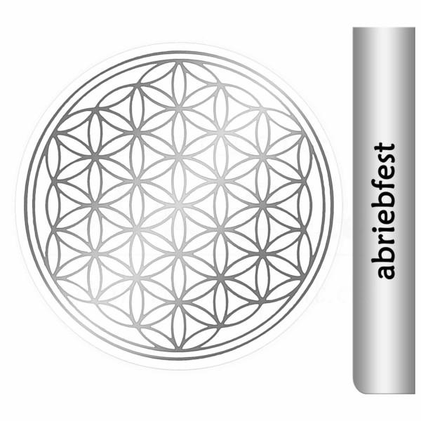 Blume des Lebens Aufkleber - Druck mit glänzendem Silber auf Transparentfolie - abriebfest | Farbe silber | in verschiedenen Größen | designed by atalantes spirit®
