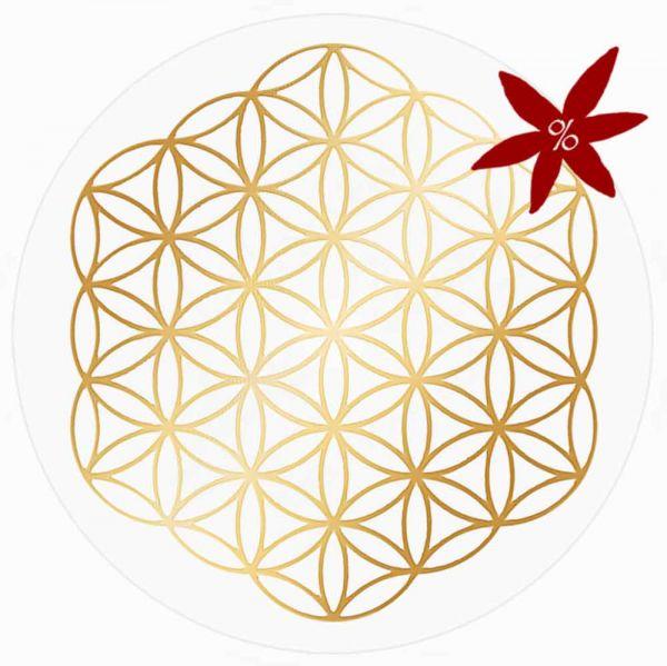 Aufkleber GOLD 3 cm SET = 10 Stück | Blume des Lebens ohne Außenkreise - II. Wahl | B-Ware