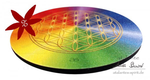 Blume des Lebens Untersetzer | Farbe rainbow | II. Wahl | alle Chakren | designed by atalantes spirit®
