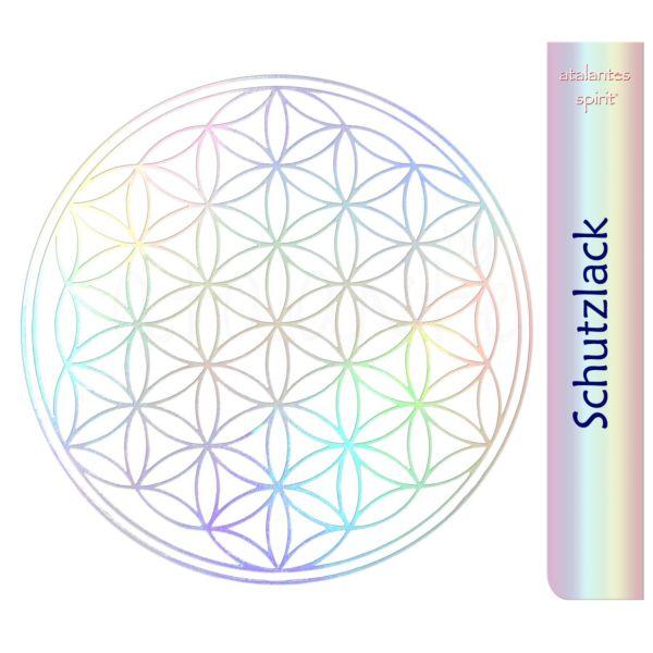 Blume des Lebens Aufkleber metallic - Prägung auf Transparentfolie - Schutzlack | Hologramm | designed by atalantes spirit®