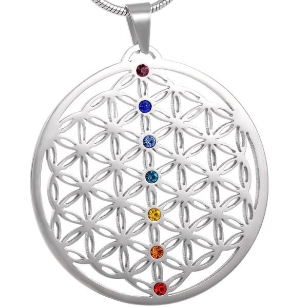 Blume des Lebens Chakren-Amulett mit 7 Kristallen | Edelstahl silber | Neodym-Magnet | Serengetix