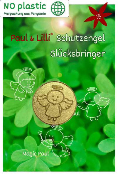 Schutzengel Smiling Paul Glücksmünze - II. Wahl | B-Ware | Farbe gold | Vorderseite auf Kärtchen | EnerChrom® ist eine Marke von atalantes spirit®