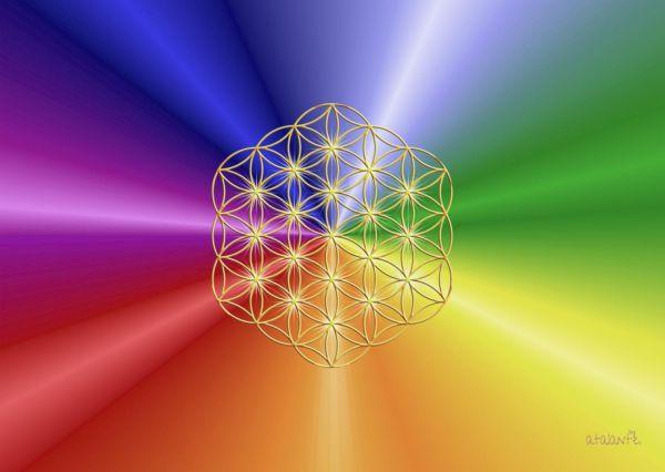 Mauspad XL RAINBOW | Blume des Lebens ohne Außenkreise