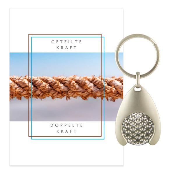Blume des Lebens Schlüsselanhänger KRAFT - Silber Double