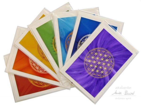 Blume des Lebens Doppelkarten mit Kuvert als Grußkarten | 7 Farben im SET | designed by atalantes spirit®