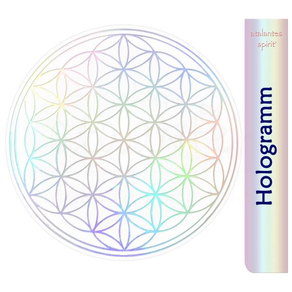 Blume des Lebens Aufkleber metallic - Prägung auf Transparentfolie - abriebfest   Hologramm   designed by atalantes spirit®