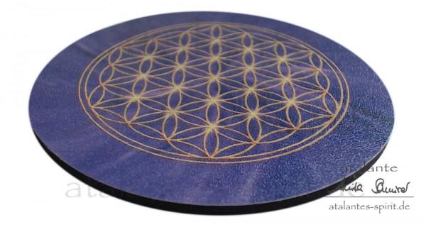 Blume des Lebens Untersetzer | Farbe violett | Kronenchakra | seitliche Ansicht | designed by atalantes spirit®