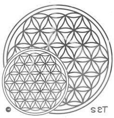 Blume des Lebens Aufkleber SET S: 3 x 3 cm & 2 x 5 cm | Druck mit Spiegelsilber auf Transparentfolie | Farbe silber | designed by atalantes spirit®