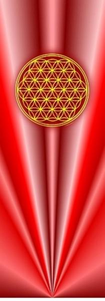 Blume des Lebens Lesezeichen | Motiv: rote Strahlen | designed by atalantes spirit®