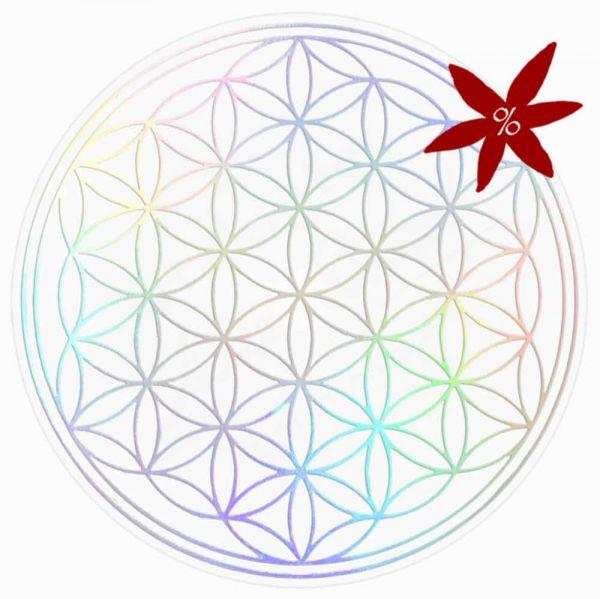 Aufkleber HOLOGRAMM 5 cm SET = 7 Stück | Blume des Lebens - II. Wahl | B-Ware