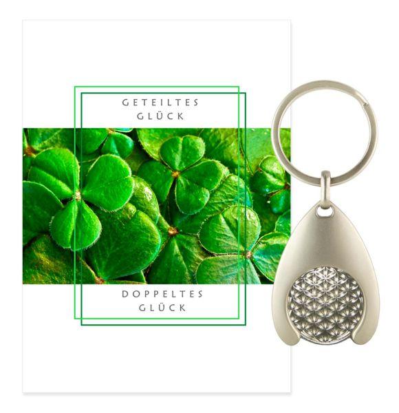 Blume des Lebens Schlüsselanhänger GLÜCK - Silber Double