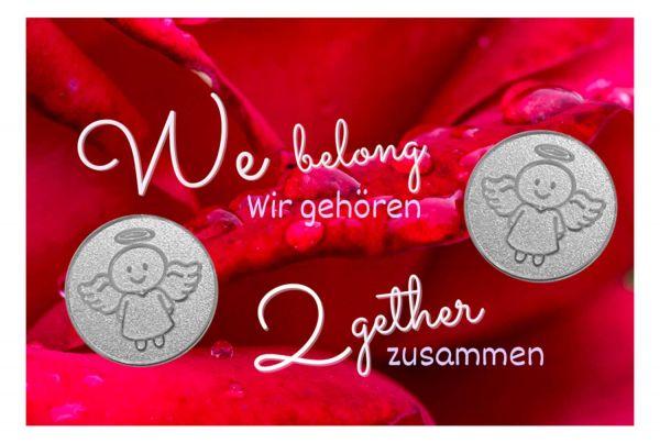 Engelige Grüße - Wir gehören zusammen - Schutzengel Smiling Paul silber - Engelkärtchen rot VS - by atalantes spirit