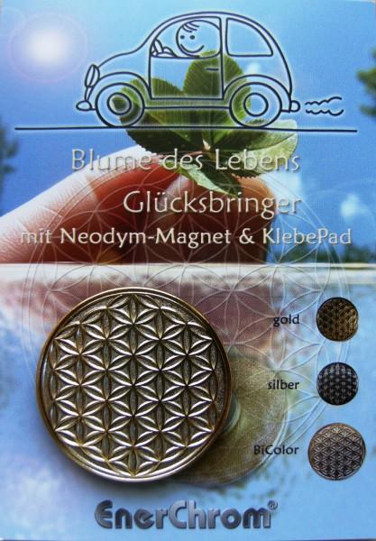 Blume des Lebens Auto-Magnet als Glücksbringer auf Flyer | Farbe BiColor | designed by atalantes spirit®