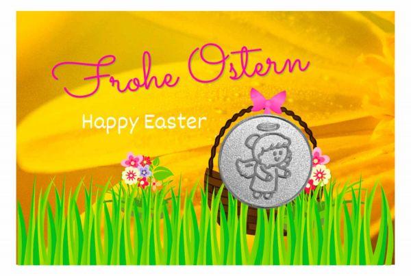 Engelige Grüße - Frohe Ostern - Schutzengel Lovely Lilli silber - Engelkärtchen gelb VS - by atalantes spirit