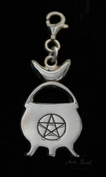 Hexenkesselchen Charm-Anhänger   925er Silber