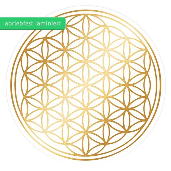 Blume des Lebens Aufkleber - Druck mit glänzendem Gold auf Transparentfolie - zusätzlich abriebfest laminiert | Farbe gold | in verschiedenen Größen | designed by atalantes spirit®