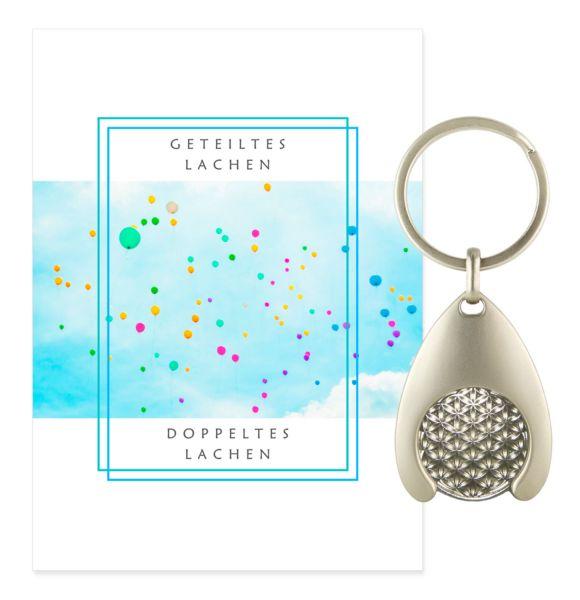 Blume des Lebens Schlüsselanhänger LACHEN - Silber Double