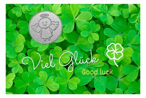 Engelige Grüße - Viel Glück - Schutzengel Smiling Paul silber - Engelkärtchen grün VS - by atalantes spirit