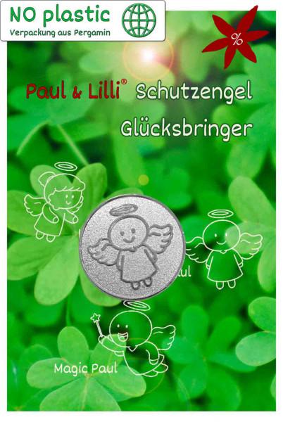 Schutzengel Smiling Paul Glücksmünze - II. Wahl | B-Ware | Farbe silber | Vorderseite auf Kärtchen | EnerChrom® ist eine Marke von atalantes spirit®