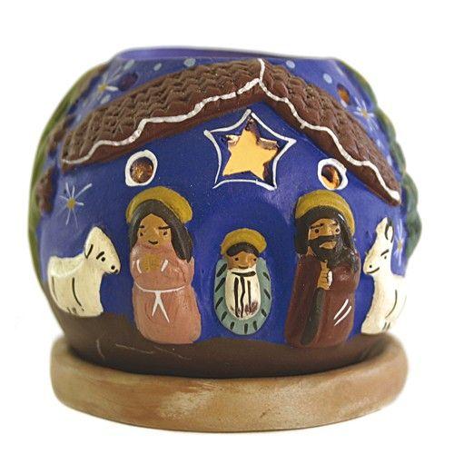 "Windlicht ""Krippe"" Keramik - blau"