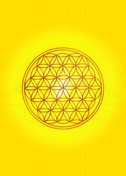 Blume des Lebens Postkarten | Motiv: Solarplexus - gelb | designed by atalantes spirit®