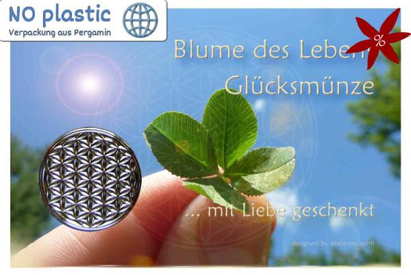 Blume des Lebens Glücksmünze - II. Wahl | B-Ware | Farbe silber | Vorderseite auf Kärtchen | EnerChrom® ist eine Marke von atalantes spirit®